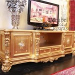MU-BD12 Buffet Tv Mewah Ukiran Gold
