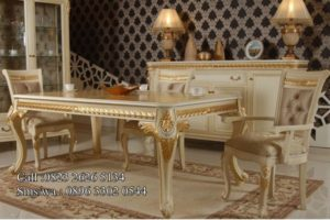 Set Kursi Makan Mahkota Duco White Gold MU-MM99